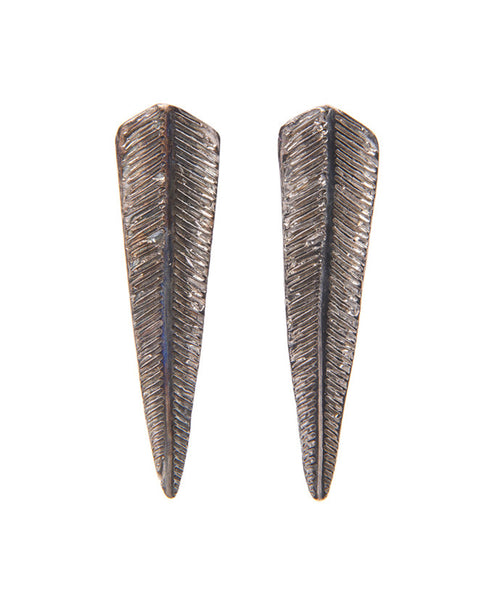 Black Plated Bronze Fern Earrings