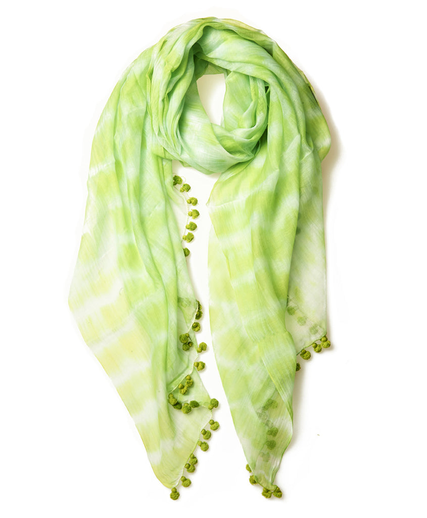 Lime Tie Dye Silk Cotton Pom Pom Scarf