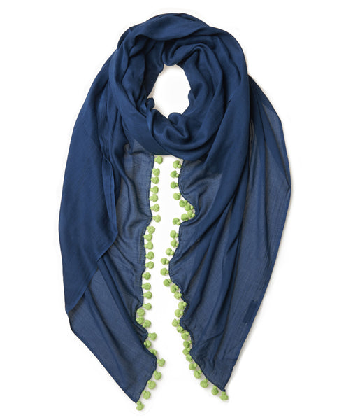 Navy Cotton Lime Pom Pom Scarf