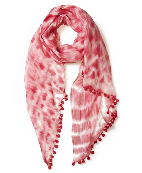 Raspberry Tie Dye Silk Cotton Pom Pom Scarf