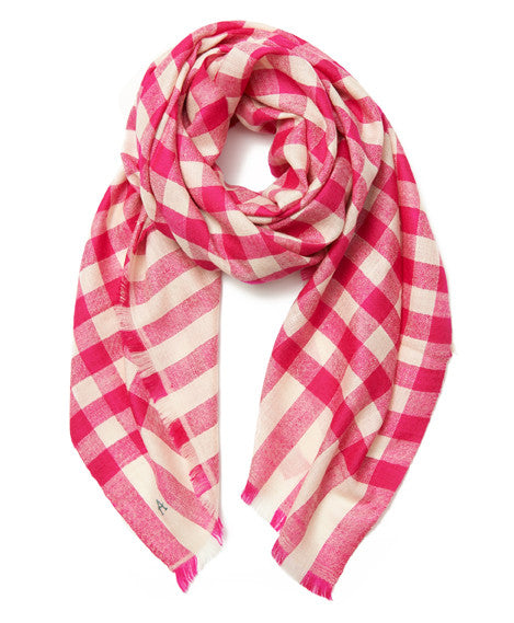 Pink Check Cashmere Scarf