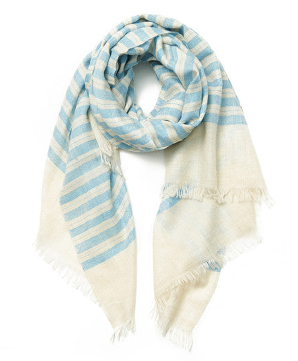 Light Blue Stripe Cashmere Scarf
