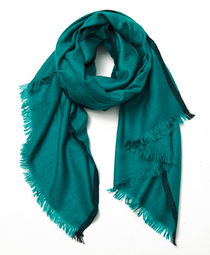 Teal and Dark Blue Border Cashmere Scarf