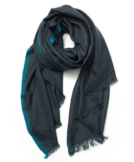 Grey and Teal Border Cashmere Scarf