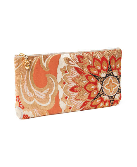 Orange and Gold Long Takara Clutch