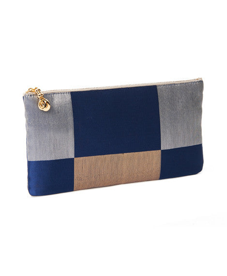 Blue Golden Check Long Takara Clutch