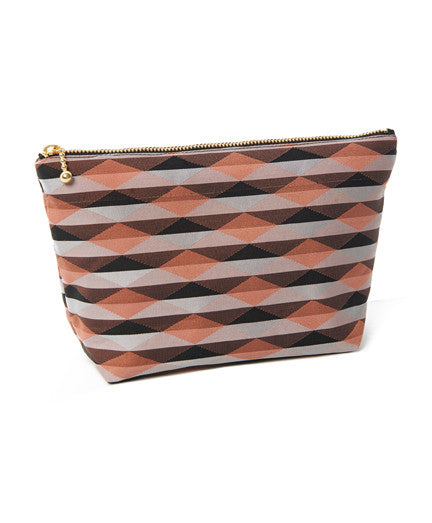CHAKO, Black and Orange Stripe Cosmetic Pouch