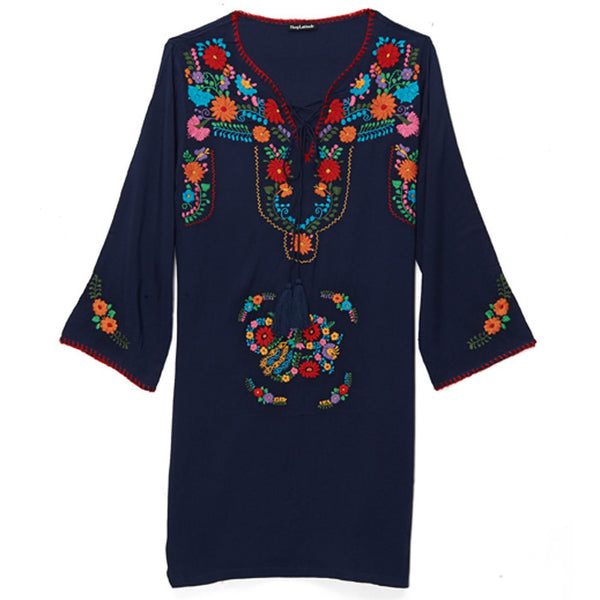 SHOP LATITUDE BAZAAR, MEXICO, Navy and Multi Tunic Dress
