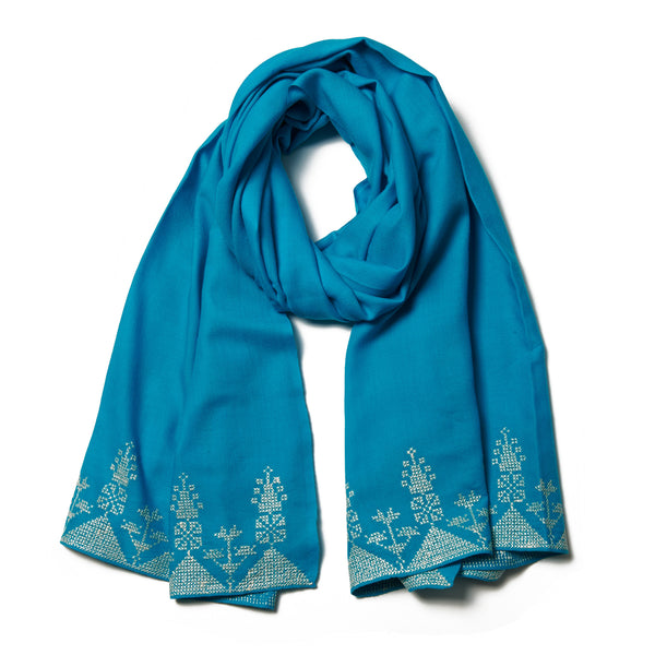 Embroidered Cashmere Shawl - Turquoise