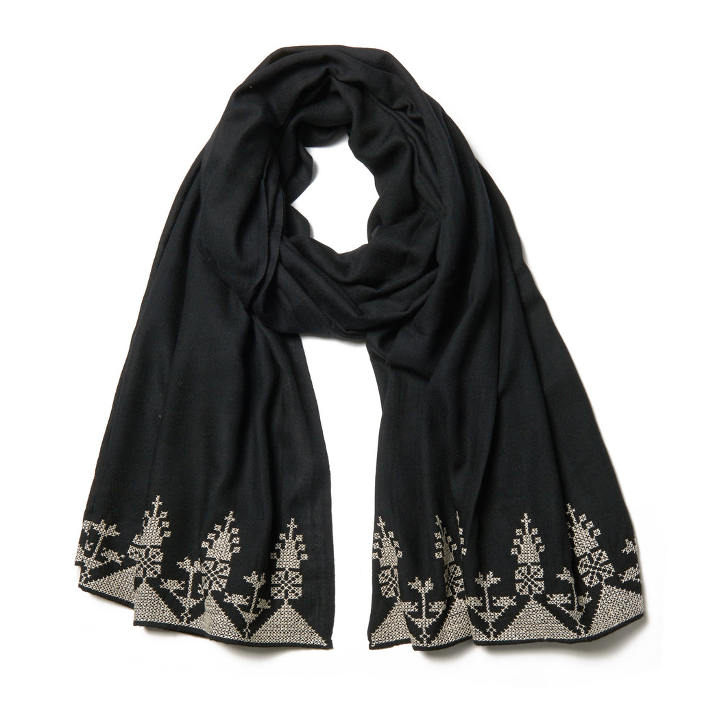 Embroidered Cashmere Shawl - Black