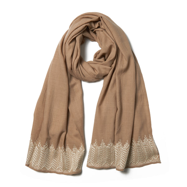 Embroidered Cashmere Shawl - Tan