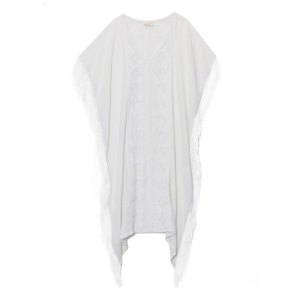 White Cotton Long Fringed Caftan
