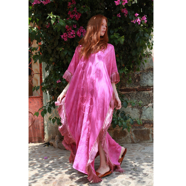Long Pink La Danza Fringed Caftan