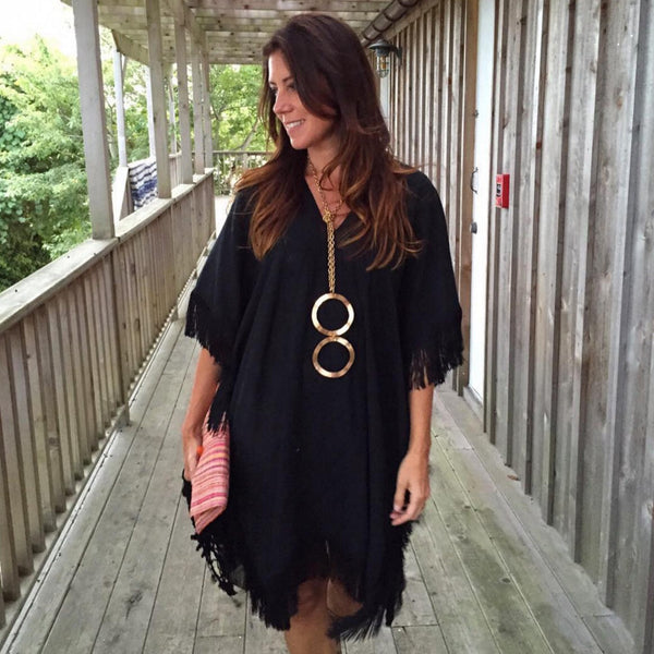 Black Cotton Short Fringed Caftan