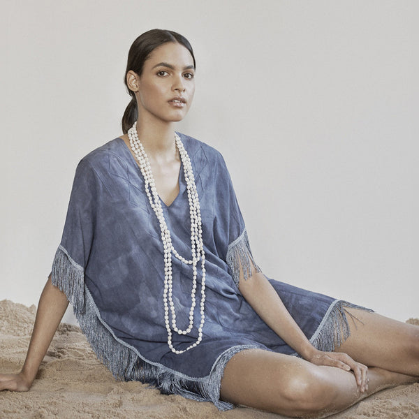 Blue Cotton Short Fringed Caftan