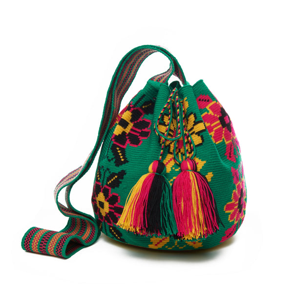 Green Floral Cotton Cartagena Mochila Tassel Bag