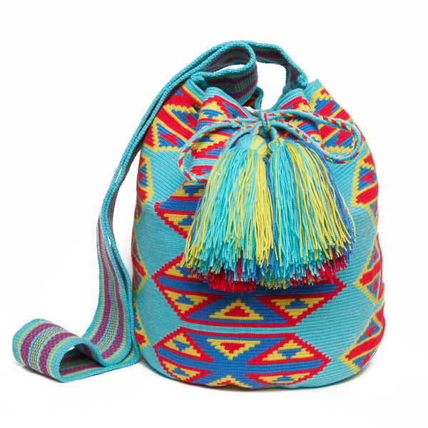 Light Blue Triangle Cotton Cartagena Mochila Tassel Bag
