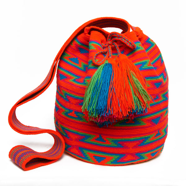 Orange, Fuchsia, Green and Blue Cotton Cartagena Mochila Tassel Bag