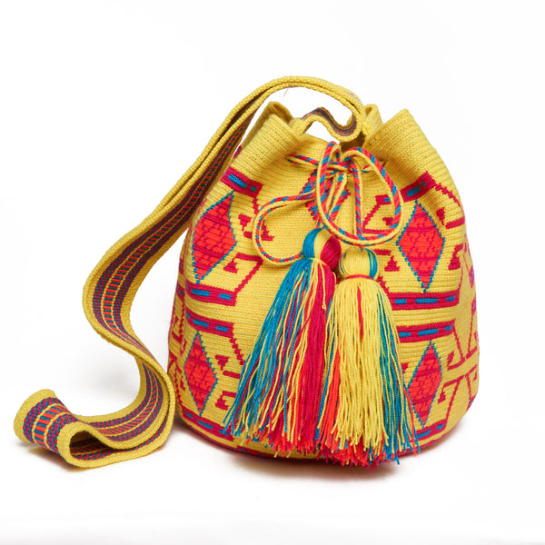 MISS MOCHILA, Small Yellow and Fuchsia Ethnic Cotton Cartagena Mochila Tassel Bag