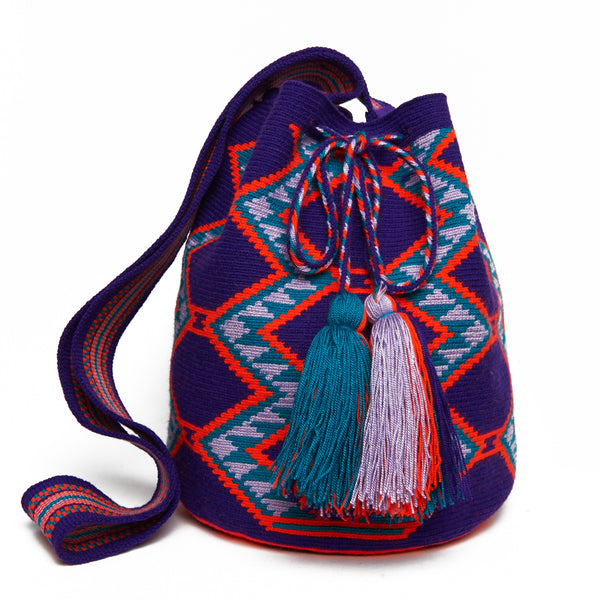 Purple and Orange Hexagon Cotton Cartagena Mochila Tassel Bag