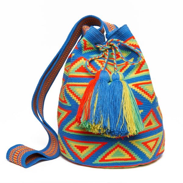 Baby Blue and Neon Triangle  Cotton Cartagena Mochila Tassel Bag