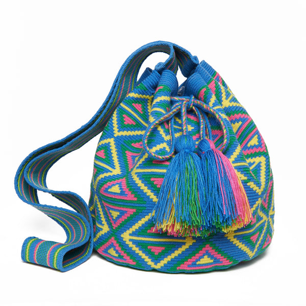 Blue Triangle Cotton Cartagena Mochila Tassel Bag