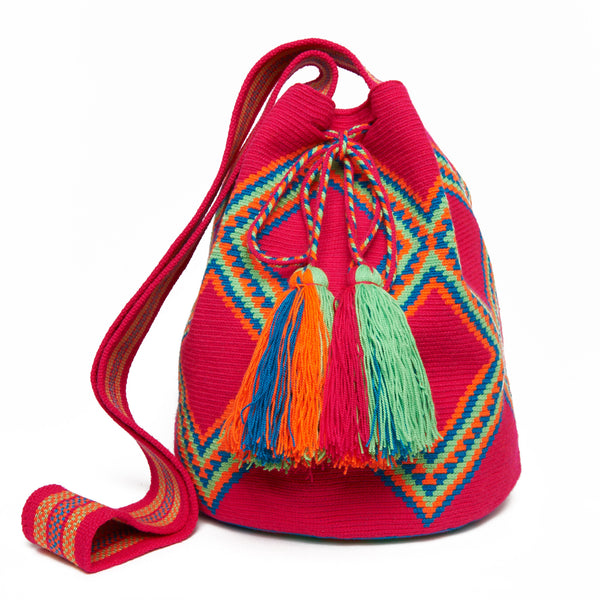 MISS MOCHILA, Fuchsia Large Diamond Cotton Cartagena Mochila Tassel Bag