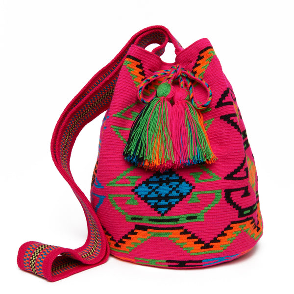 MISS MOCHILA, Fuchsia and Black Diamond Cotton Cartagena Mochila Tassel Bag