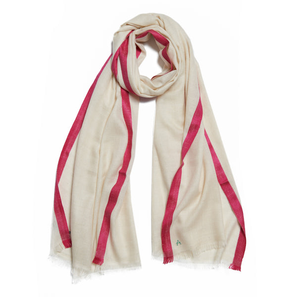 Neutral and Pink Cashmere Kund Dar Scarf