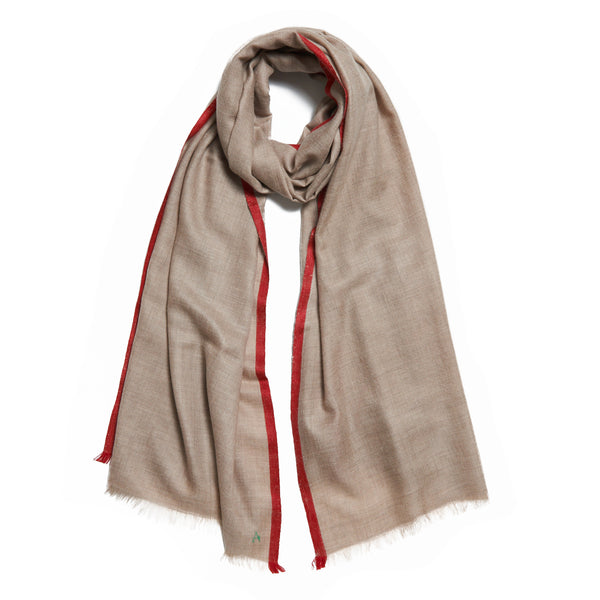 Red and Beige Cashmere Kund Dar Scarf