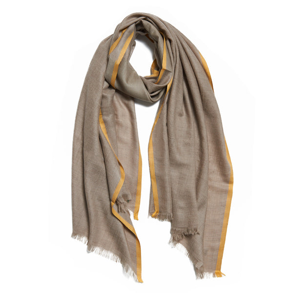 Yellow and Beige Cashmere Kund Dar Scarf