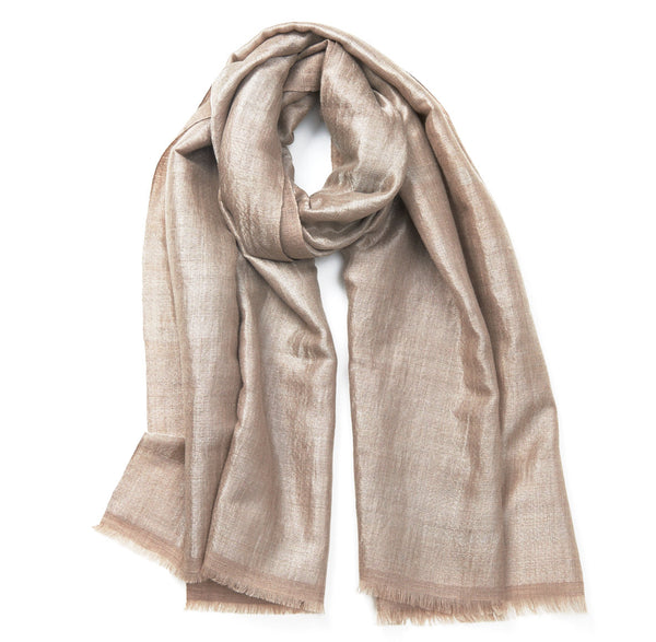Reversible Natural and Silver Cashmere Zari Scarf