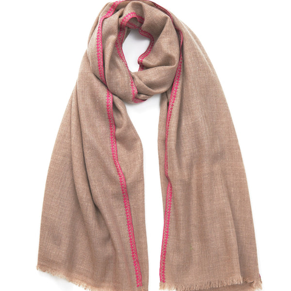 Pink Embroidered Cashmere Scarf