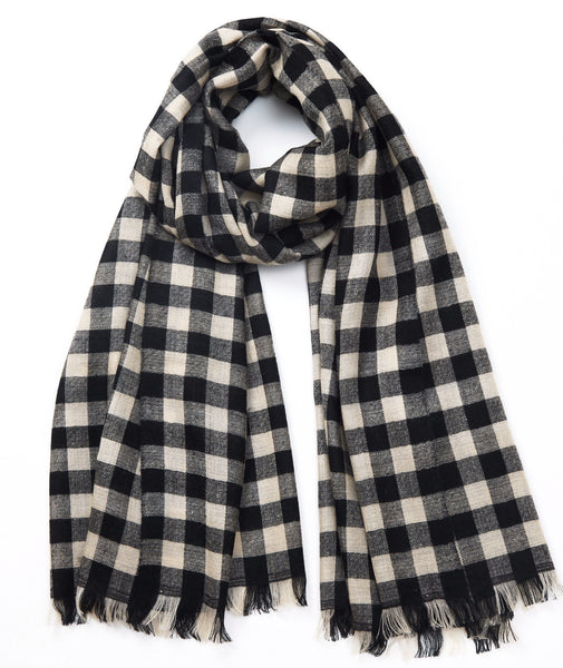 ANDRAAB, Charcoal Rang Cashmere Stripe Scarf