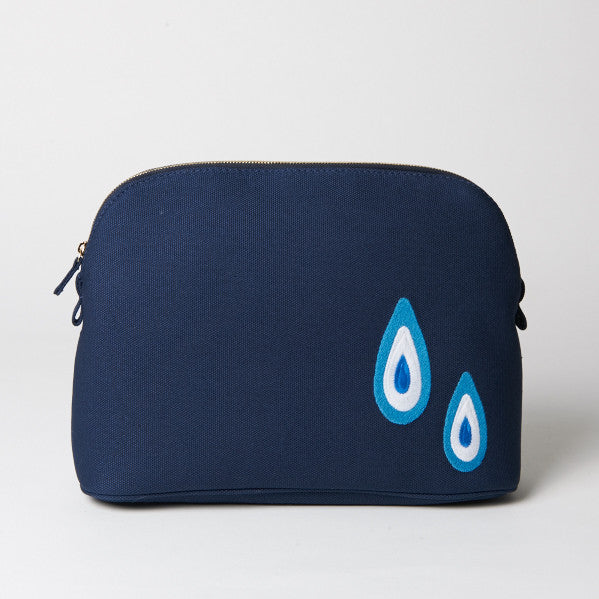 Large Navy Evil Eye Makeup Bag
