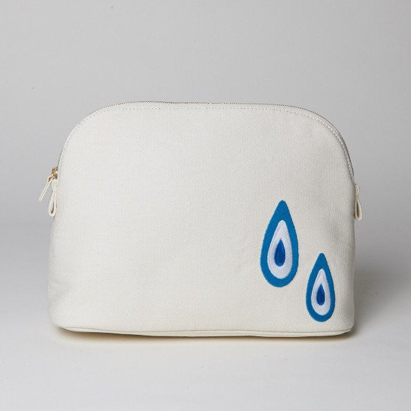 HAREMLIQUE, White Large Evil Eye Cosmetic Pouch