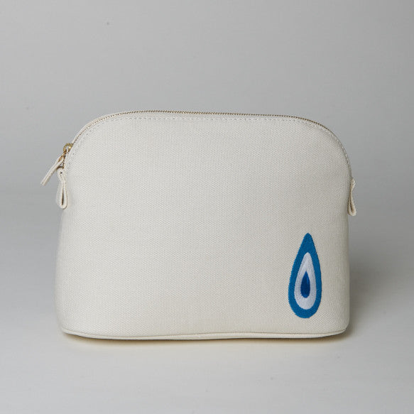 White Medium Evil Eye Makeup Bag
