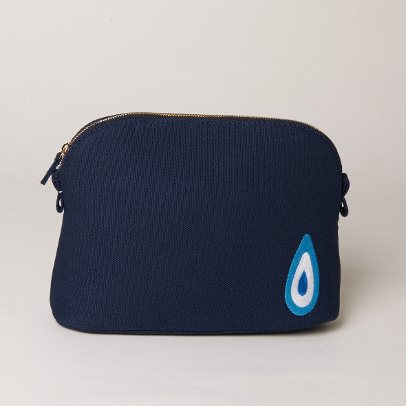 Navy Medium Evil Eye Makeup Bag