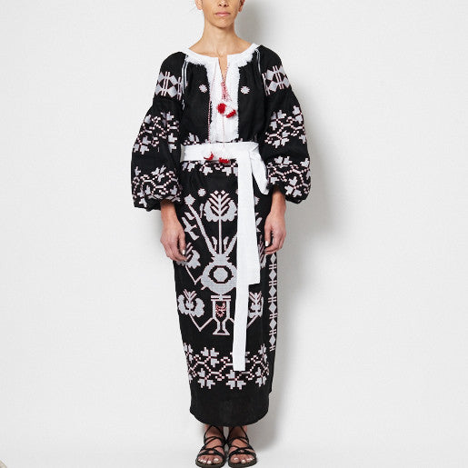 EMBROIDERED GEM, Black White Vyshyvanka Long Dress