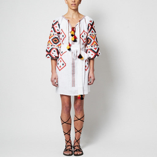 White 'Olya' Embroidered Dress