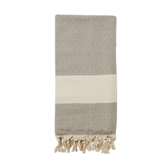 Taupe Cotton & Linen Turkish Towel