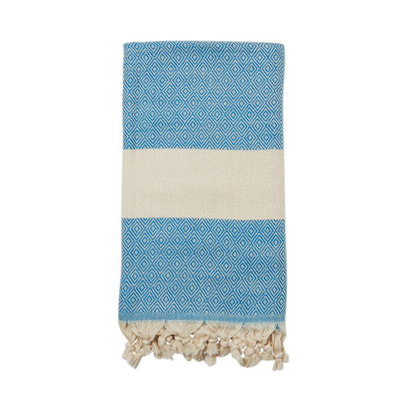 Teal Cotton & Linen Turkish Towel