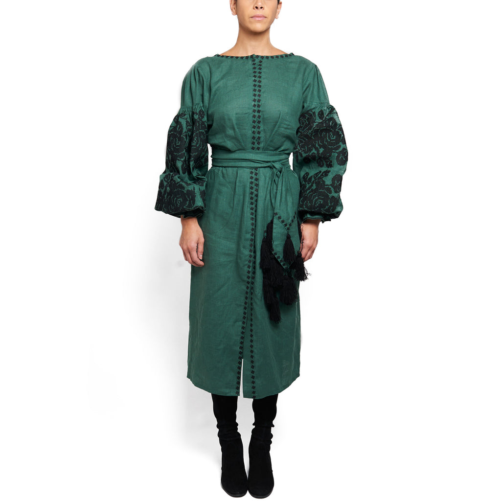 Green Embroidered Dress with Deep V Back