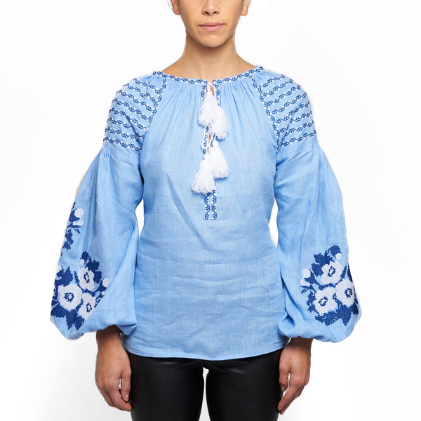 Light Blue Embroidered Top with Tassels