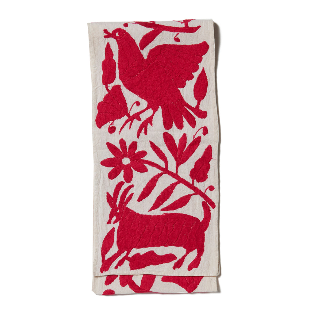 Pink Otomi Cotton Tenango Table Runner
