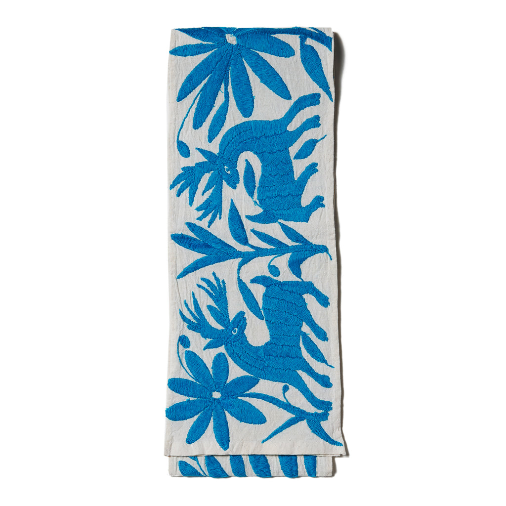 Light Blue Cotton Otomi Tenango Table Runner