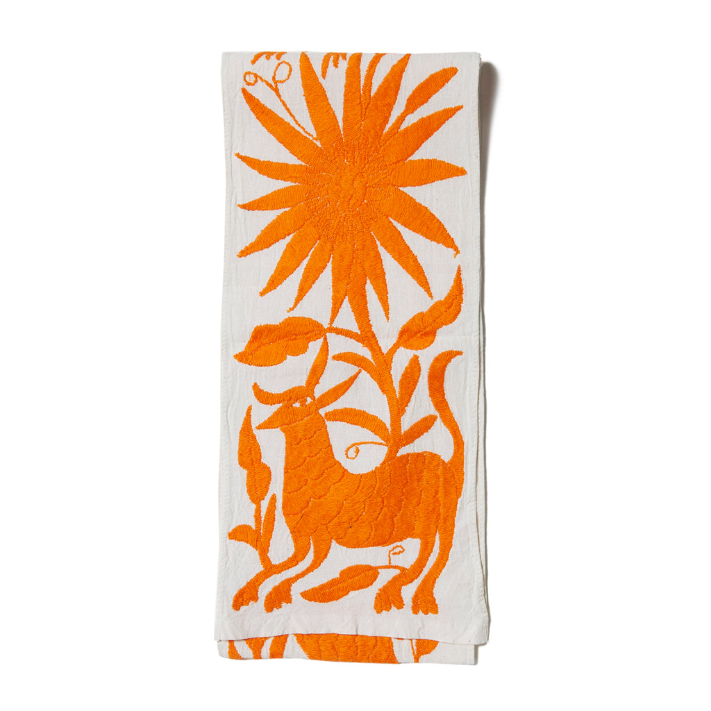 Orange Otomi Cotton Tenango Table Runner