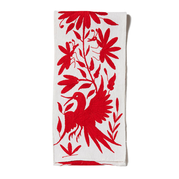 Red Otomi Cotton Tenango Table Runner