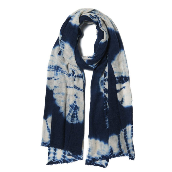 Dark Blue & Grey Bandhani Wool Scarf