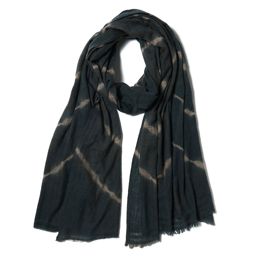 Charcoal & Tan Chevron Bandhani Wool Scarf